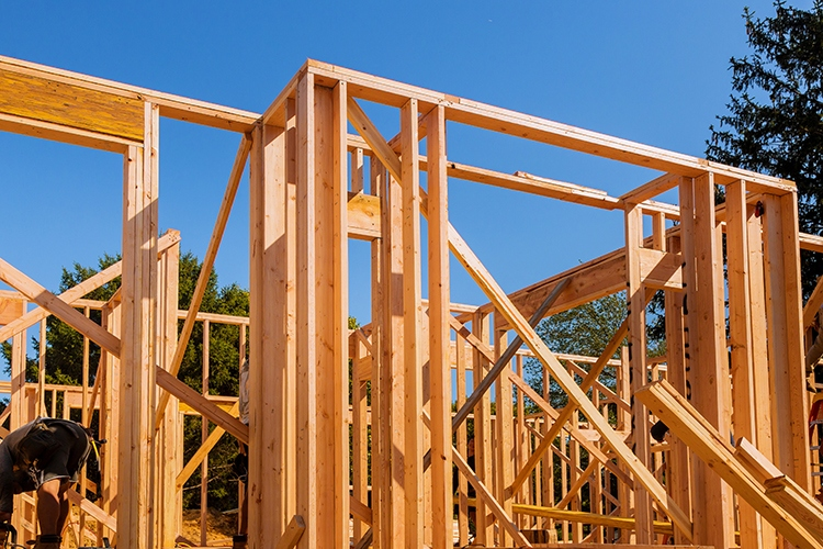 Wooden beam house residential construction home framing