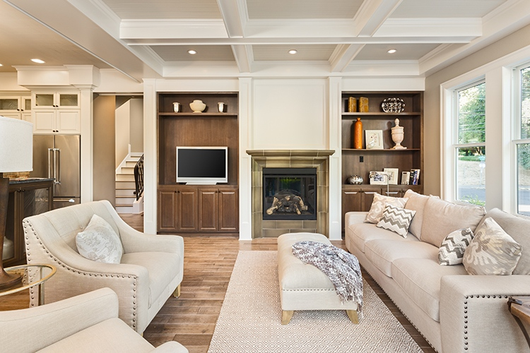 Beautiful living room with hardwood floors in new luxury home