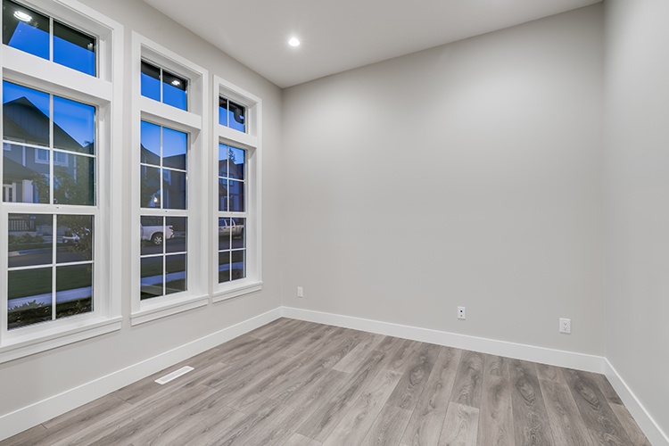 Interior of an empty room in the newly built house.
