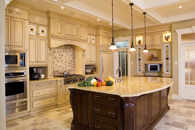 Beige kitchen with a large island