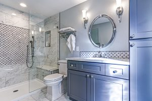 New blue bathroom remodeling design with Marble shower Surround